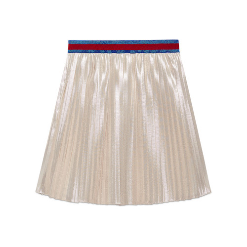 GUCCI Pleated Long Metallic Skirt, Size 4-12