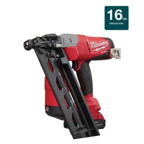 Milwaukee M18 FUEL 18-Volt Lithium-Ion Brushless Cordless 16-Gauge Angled Finish Nailer Kit W/ (1) 2.0Ah Battery, Charger & Bag