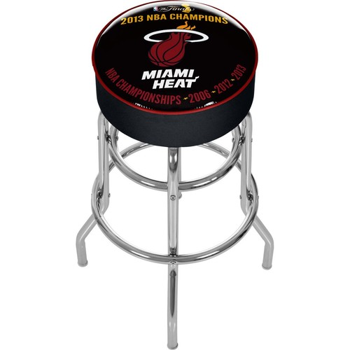 Trademark Global Vinyl Padded Swivel Bar Stool, Black, Miami Heat 2013 NBA Champions