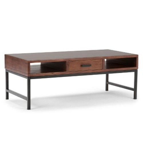 Simpli Home Riordan Russet Brown Built-In Storage Coffee Table
