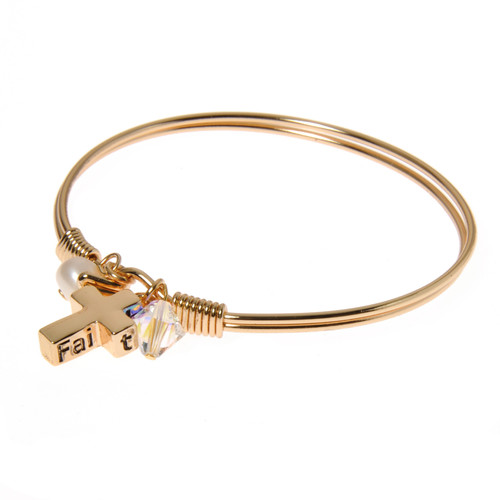 Gold Plated Faith Cross Charm Bangle Bracelet