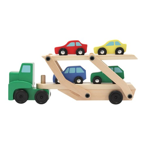 Melissa & Doug Car Carrier Truck and Cars Wooden Toy Set With 1 Truck and 4 Cars [Standard]