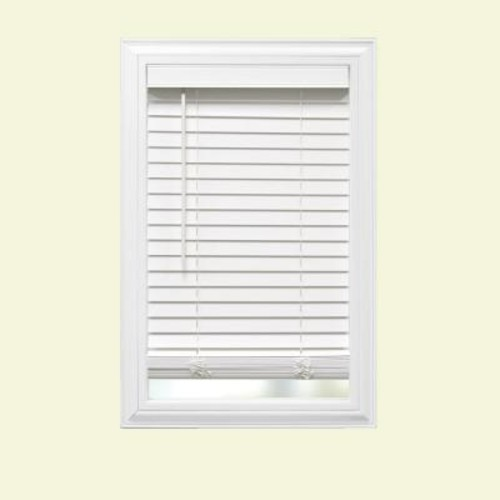 Home Decorators Collection White Cordless 2 in. Faux Wood Blind - 61.5 in. W x 64 in. L (Actual Size 61 in. W x 64 in. L)