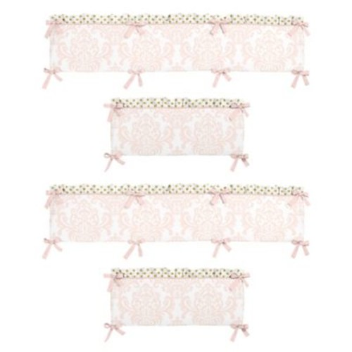 Sweet Jojo Designs Amelia 4-Piece Crib Bumper Set in Pink/G