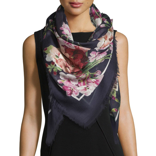 GUCCI Blooms Square Shawl, Blue/Pink
