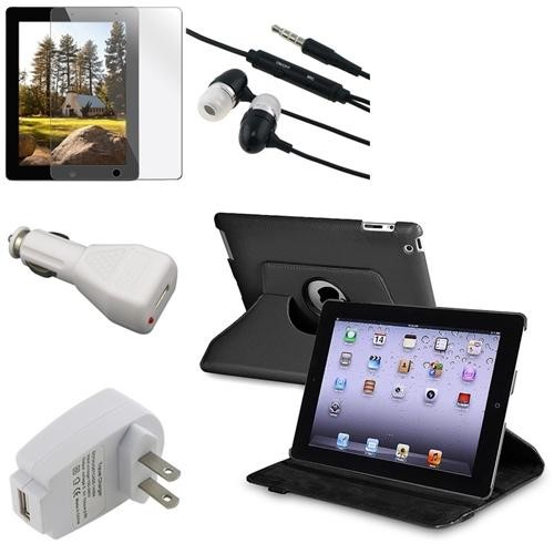 INSTEN Black 360 Leather Case+Film+AC+Car Charger+ Headset for iPad 2 2nd 3 3rd 4 4th (Supports Auto Sleep/Wake)