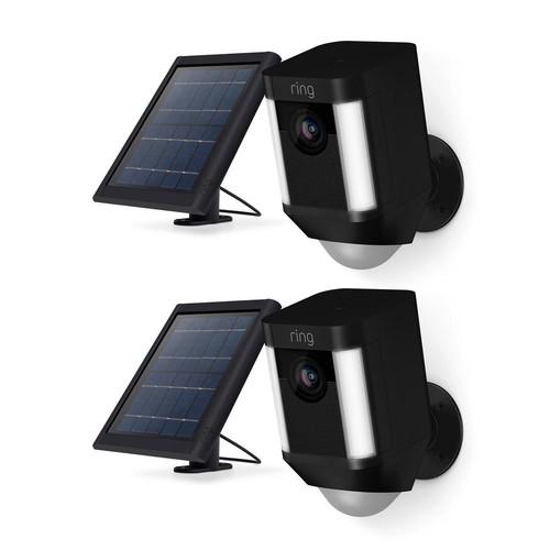 Ring Spotlight Cam Solar Outdoor Security Wireless Standard Surveillance Camera in Black (2-pack)
