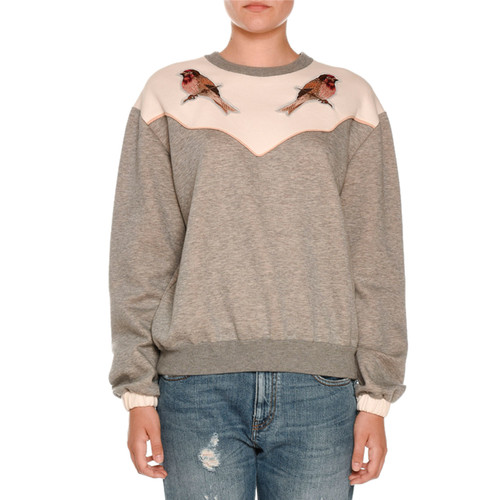 STELLA MCCARTNEY Bird-Embroidered Crewneck Sweatshirt, Gray