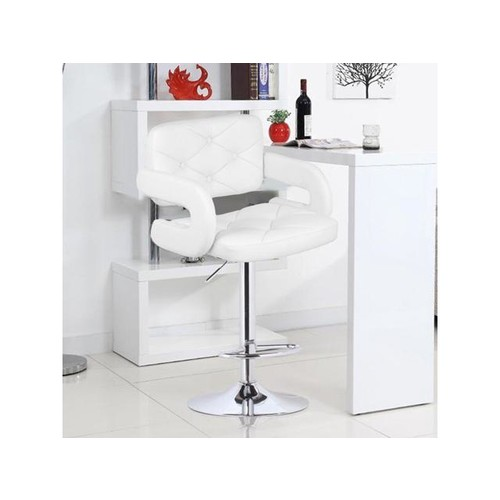 2PCS Modern Adjustable PU Leather Swivel Bar Stools Household Bar Chair white