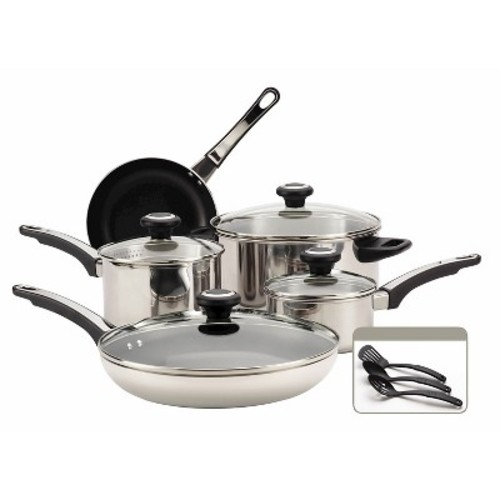 Farberware High Performance 12-Piece Stainless Steel Cookware Set with Lids