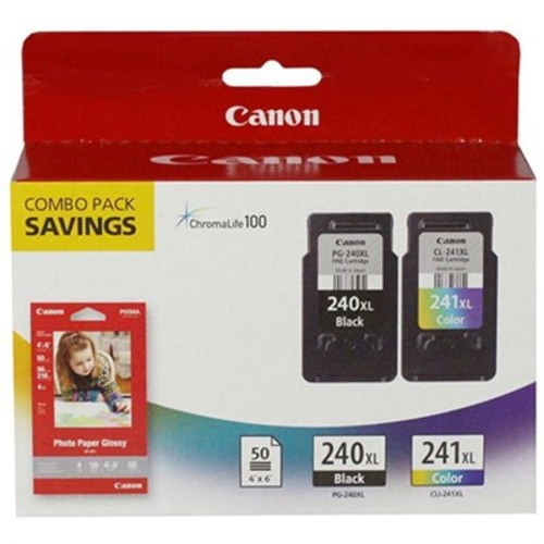 Canon 5206B005 (PG-240XL/CL-241XL) High Yield Black and Color Ink Cartridge Combo Pack