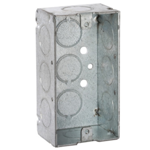 Raco 4 in. H Rectangle 1 Gang Outlet Box 1/2 in. Gray Steel