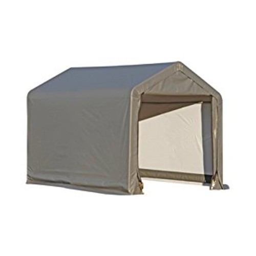 ShelterLogic Shed-in-a-Box with Auger Anchors, Peak, Gray [6 x 10-Feet]
