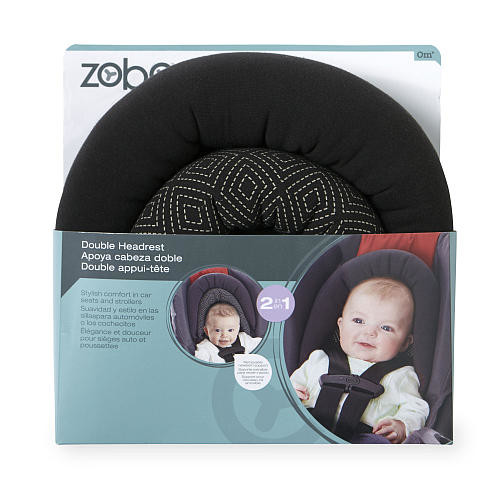 Zobo Reversible Double Car Seat and Stroller Headrest - Black Diamonds