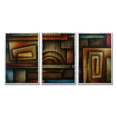 All My Walls 'Abstract Mind' by Michael Lang 3 Piece Graphic Art Plaque Set
