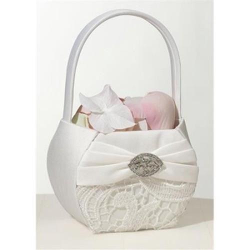 Vintage Lace Cream Flower Girl Basket