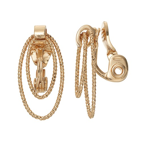 Napier Clip-On Textured Rope Double Oval Drop Earrings