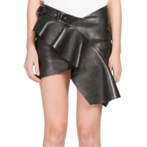 SAINT LAURENT Ruffled Leather Mini Skirt
