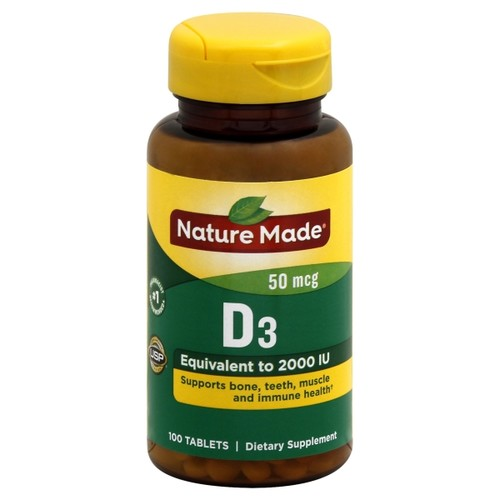 Nature Made Vitamin D3 2000 IU (50 mcg) Tablets 100 Ct. (Packaging may vary)