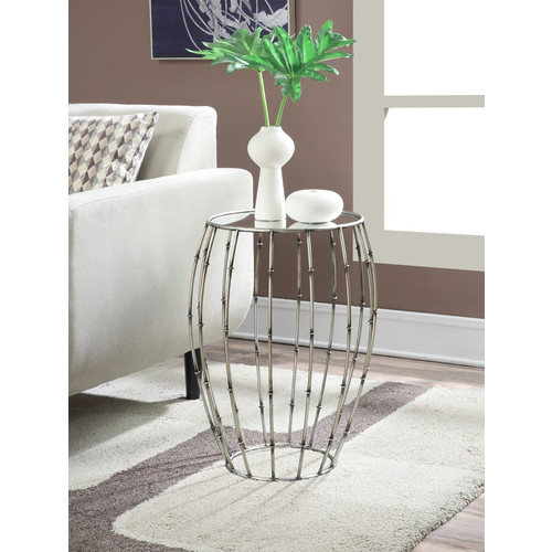 Convenience Concepts Gold Coast Round Mirror Accent Table