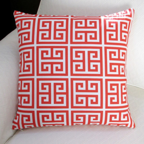 Greek Key Outdoor Throw Pillow