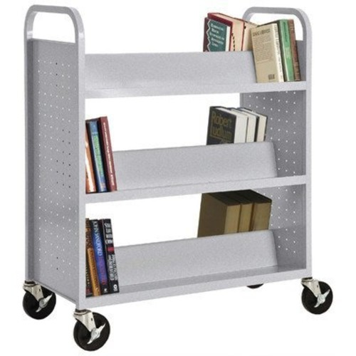 Sandusky Lee SV336-MG Double Sided Sloped Shelf Welded Book Truck, 19