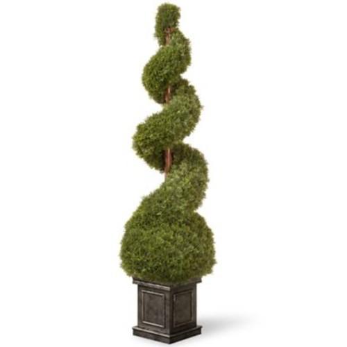 National Tree Co. Cedar Spiral Tree w/ Ball in Square Pot