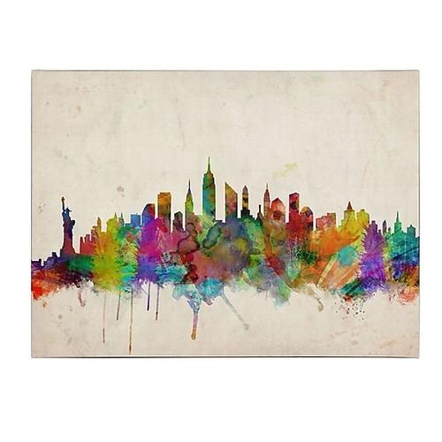 Trademark Fine Art Michael Tompsett 'New York Skyline' Canvas Art 22x32 Inches