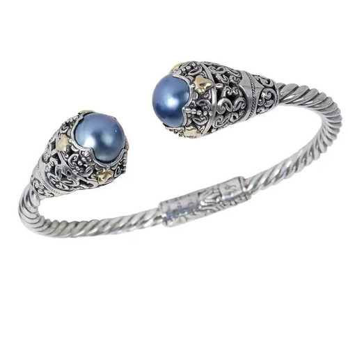 Robert Manse Sterling Silver 18k Leaf Accents Blue Mabe Pearl Bracelet - Blue Mabe Pearl, 18K Yellow Gold, Sterling Silver
