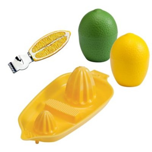 Hutzler 4-Piece Lemon, Lime, Citrus Zester and Twin Juicer Set