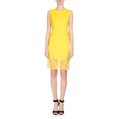 GIVENCHY Sleeveless Lace-Hem Sheath Dress, Yellow
