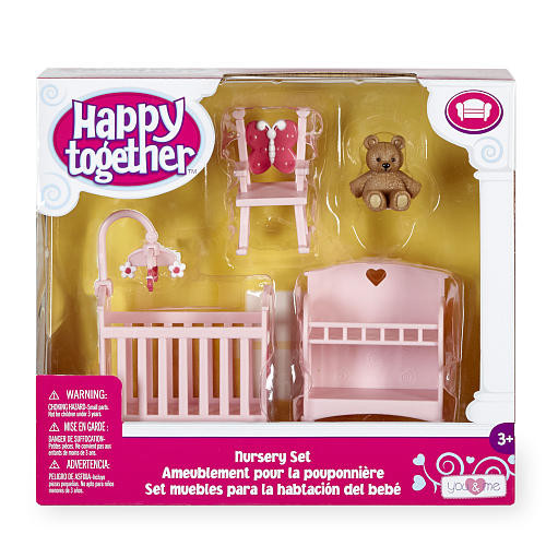 You & Me Happy Together Dollhouse Furniture Set - Pink Nursery
