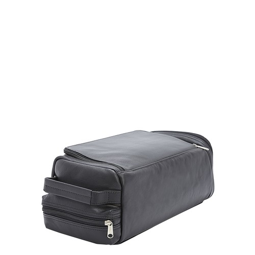 Executive Calfskin Leather Shoe Travel Bag, Black