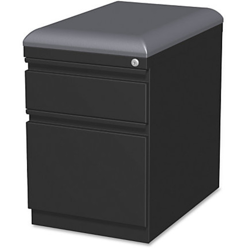 Lorell Steel Letter-Size Mobile Pedestal File With Seating, 2 Drawers, 23 7/8
