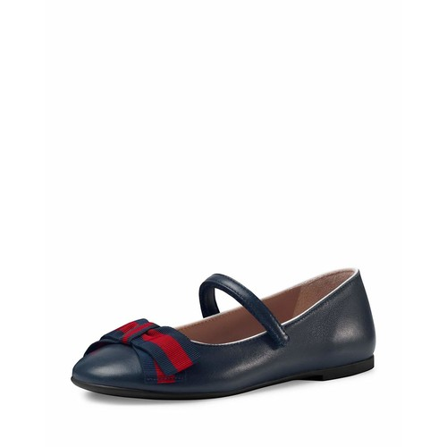 GUCCI Leather Ballet Flat W/ Web Bow, Sizes 10T-2Y