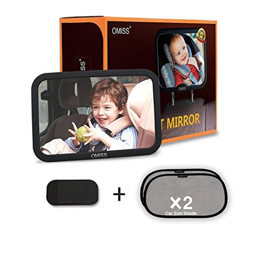 Baby Mirror Rear Facing to See Babies with Free Baby Car Window ShadesPlus Anti-slipping Pad (10 in. Black)