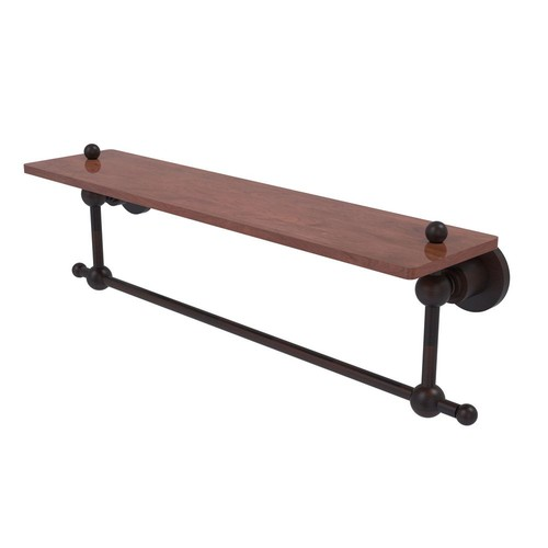 Allied Brass Astor Place Collection 22 in. Solid IPE Ironwood Shelf with Integrated Towel Bar in Venetian Bronze