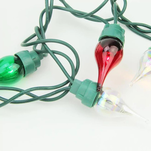50 Clear, Red & Green Twinkle Mini Christmas Lights