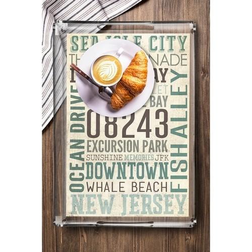 Sea Isle City, New Jersey - Typography - Lantern Press Artwork (Acrylic Serving Tray)