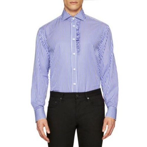 BURBERRY Ruffled Stripe Cotton Button-Down Shirt