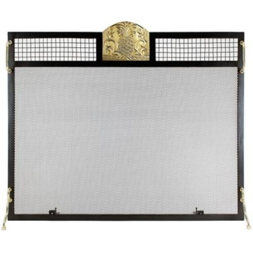 Minuteman Pineapple Emblem Single Panel Iron Fireplace Screen; Polished Brass