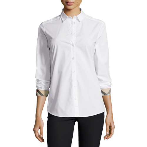 BURBERRY BRIT Long-Sleeve Check-Trim Poplin Blouse