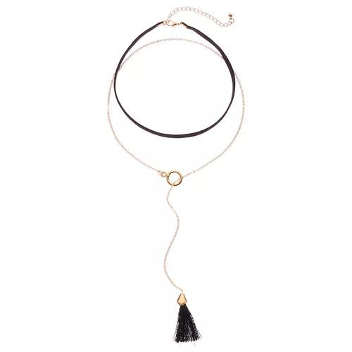 GS by gemma simone Black Tassel Lariat & Choker Necklace Set