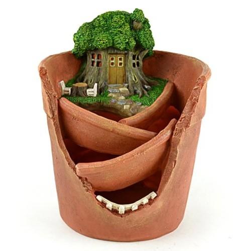 Miniature Garden Solar Treehouse Fairy Pot Statue