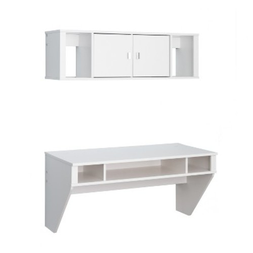 Designer Floating Desk and Hutch Set - White - Prepac