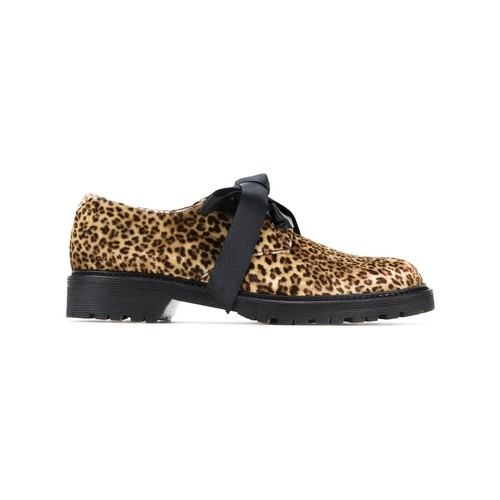 SAINT LAURENT Leopard Print Lace-Up Shoes