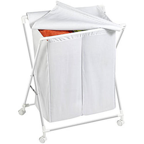 Honey Can Do Double Folding Hamper, White (HMP-01386)