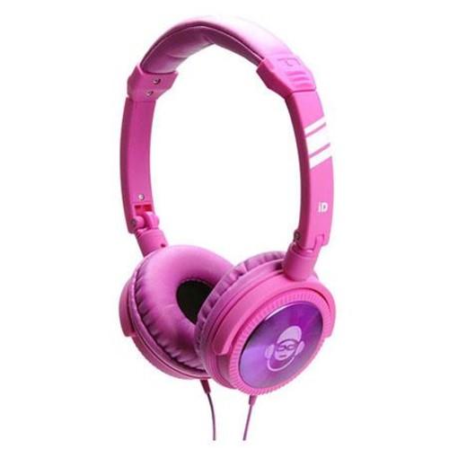 iDance Jockey Articulated Lightweight Headphones with Inline Mic, Purple/Pink JOCKEY500