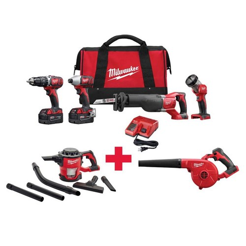 Milwaukee M18 18-Volt Lithium-Ion Cordless Combo Kit (4-Tool) with Free M18 vacuum and M18 Blower