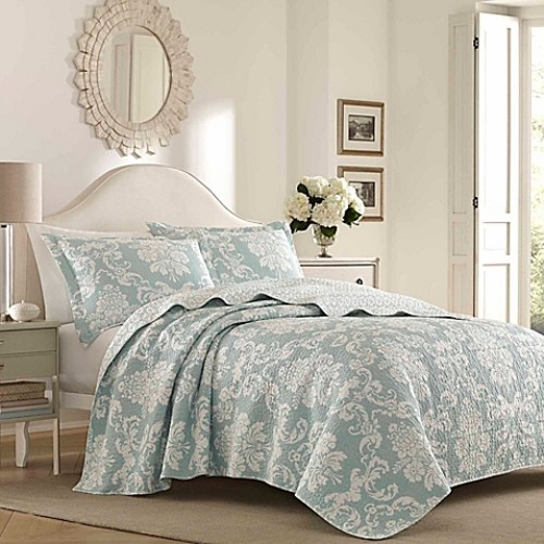 Laura Ashley Venetia Reversible Twin Quilt Set in Blue